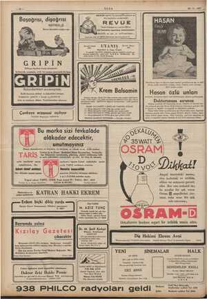 i | | | yz ULUS — e di İĞ <a ME Şi RAMA ANYAR a 25-11-1937 Başağrısı, dişağrısı NEVRALJI Bütün istırabları teskin eder WREVUE
