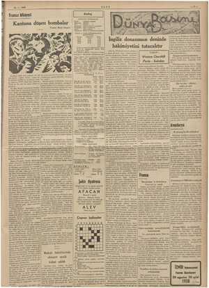 mii ibi 7 vü ME e Ee ME e 16-1. 1938 ULUS Fransız hikâyesi Kantona düşen bombalar Yazan: Renâ Jouglet ze ZE HALK ve YENİ