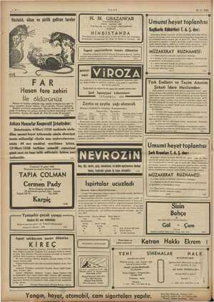 ei EYER PE Ayer ULUS 12-3-1938 Macu releri, sari derhal ö m ğday v5 Gk Kutusu 10; bü; FAR Hasan fare zehiri İle öldürünüz