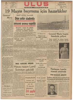 | General ) Maarif vekilinin huzurunda — Maric | Dün sehir stadında | Dost ve müttefik Yugoslavya- | — nm harbiye ve bahriye nazırı ge- W neral Liyumbomir Mariç bu sa- bahtanberi memleketimizin mi- B safiridir. Simdiye kadar, mu!ı!e-r prova vapl ı hf fırsatlarla, Yugoslavya'yı zi- yaret eden hükümet adamları- mız, general Mariç'in şahsında yalnız, kendini bütün orduya ve n büyük bi ı.ıke:,l Bayramın coşkun bir şekilde