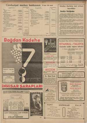 """BANNER EAA ULUS Cümhuriyet merkez bankasının 28 mans 198 vari 1-6. 1938"""" Belediye Meclisine âzâ intihabı AKTİE: PASİF: ra..."""