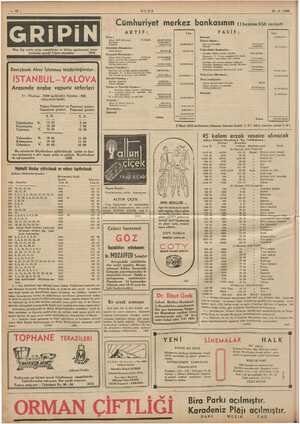 Fe , ei o ULUS z 15 -6- 1938 EE ES EEE Cümhuriyet merkez bankasının 11 haziran 938 vaziyeti AKTİF: j Lim PASİF: Lira i Kasa