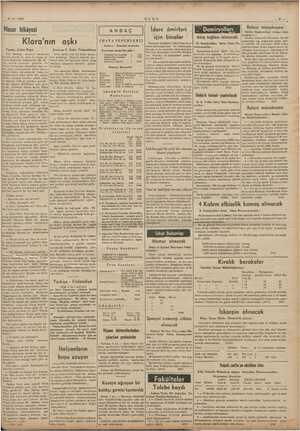 1938 ULUS İdare âmirleri için binalar Balast münakasası Adana Iş Macar hikâyesi Klara'nın aşkı Çeviren F. Zahir ANDAÇ...