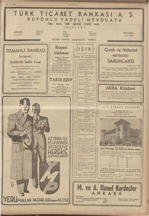 24.11.1938 TÜRK TİCARET BANKASI A. Ş. LU VADELİ MEVDUATA KUPO Her Ayın İLK GÜNÜ FAİZ verir ŞÜBELERİ Ge Di Ka ale İSTANBUL