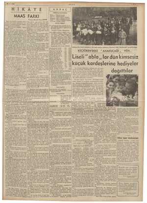 23.4.1939 ULUS m in HIKAYE MAAŞ FARKI Yazan: Muallâ İhsan BORA ANDAÇ NÖBETÇİ ECZANELR ACELE İMDAT Lüzumlu Telefon...