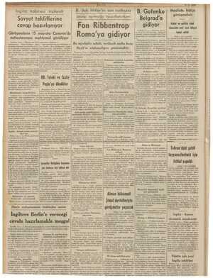 öpldrd Hitler'in son nutkuna | B. Gafenko | Mecliste bütçe Sovyet töklillehire- cevap vermeğe hazırlanırken Belgrad'a...