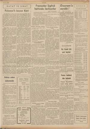 """10-9. 1939 """"ULUS Fransızlar Sigfrid hattında ilerliyorlar Erzurum'a vardık ! (Başı 1. inci sayfada) HAYAT VE SIHAT (Başı"""