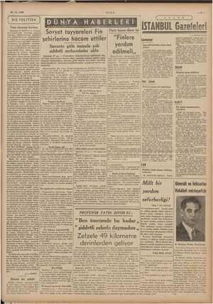 28.12.1939 ULUS DIŞ POLİTİKA | Yeni Monroe kaidesi levletler ii lrukuru ında kalan kar | EN İN a Sovyet tayyareleri Fin «|