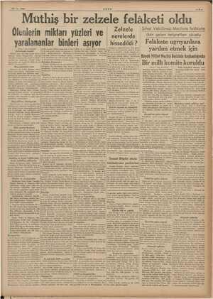 """25-17 - 1939"""" ULUS idi Emir Müthiş bir zelzele felâketi oldu Zelzele Sıhat Vekilimiz Mecliste felâkete Ölenlerin miktarı..."""