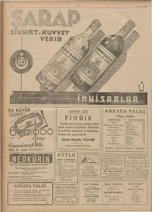 ULUS 28-12-1939 KUVVET ÖZÜ FINDIK Fındık satış Kooperatifleri Birli- ğinin hususi anbalajlar dahilinde hazırladığı kabuklu