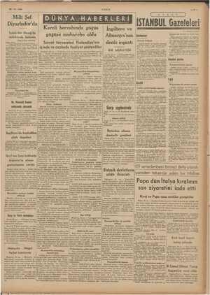 29-12. 1939 Milli Şef Diyarbakır'da İnönü dün Elazığ'da tetkiklerde bulundu (Başı 1 inci sayfada) kabul ettiler, Umumi...