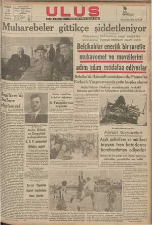 """- """" A Ö, ELLALE, f Puf Gf H Uf 5ısı.ınyb gıuub l.l.bl.ll' / A Almanların Hollanda'ya karşi yaptikları sevkulceyşi taarruz hareketi akim kaldı a Belcikalılar enerlik bir suretfe mukavemef ve mevzilerini"""