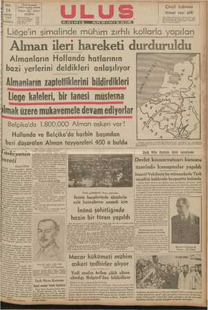 Alman ileri hareketi durduruldu. Almanların Hollanda hatlarının — | * bazi yerlerini deldikleri anlaşılıyor | AR C oğ z A BAA LA BU Yü el B