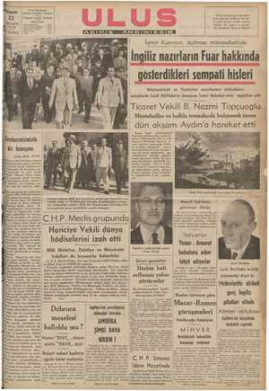 Müstemlekât ve Hindistan nazırlarının söyledikleri İnutuklarla Lord Halifaks'ın mesajına İzmir Belediye reisi teşekkür etti —. PS G d Go o » A V A S z Y