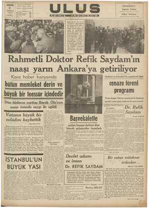 Pegeme | OLUŞ mein De Caddem Telgratı ULUS Ankara — Telefon dsi am Rahmetli Dr. R e Saydam'ın Başoekilik Solda ii halk...