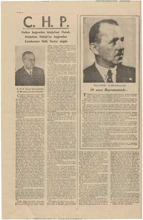 le yeni TÜ * ÇİP Halkın bağrından Müdafaai Hukuk, Müdafaai Hukuk'un bağrından Cumhuriyet Halk Partisi doğdu C. H. P. Genel