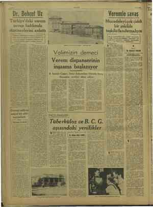 31/8/1949 TLDİR verem savaşı hakkında düşüncelerini anlattı Yap az ve ve e N Ge Zimiz sa' iz e 1 inci sayfada, Sağlı eğ ilk
