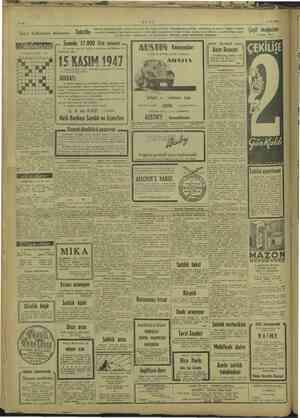 ULUS Sayın halkımızın dikkatine arlama ve hazır Senede 17.000 lira ikramiye aralık tasarruf hi bi için, 15 KASIM 1947...