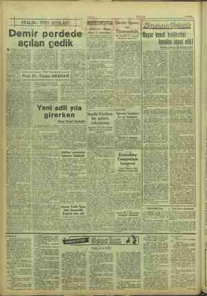 "o hbir Rl göze alma ce- © Sonra da le 'nan, çeşitli ihtili ""ze alacak e kuvvetli e UL Us 5/9/1949 vinİlien i STALİN - TİTO"