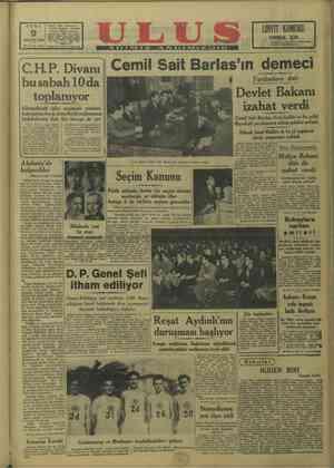 CUMA C.H.P. Ulus Müessesesi Çankırı Caddesi — Ankara UN K KÖMÜRÜ MAK - İÇİN e hem m hem memi- ARALIK 1949 Yıl: 30 No. 10215