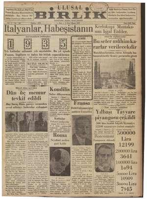 Ulusal Birlik (İzmir) Gazetesi 1 Ocak 1935 kapağı