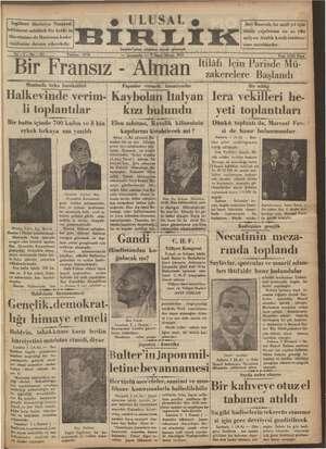 Ulusal Birlik (İzmir) Gazetesi 2 Ocak 1935 kapağı