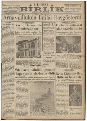 Ulusal Birlik (İzmir) Gazetesi 3 Ocak 1935 kapağı