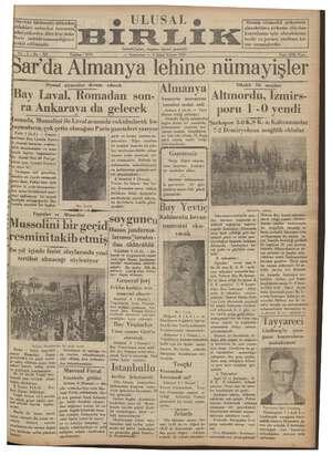 Ulusal Birlik (İzmir) Gazetesi 5 Ocak 1935 kapağı
