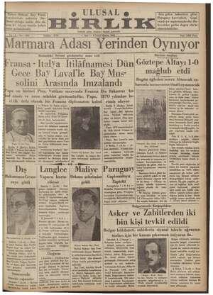 Ulusal Birlik (İzmir) Gazetesi 8 Ocak 1935 kapağı