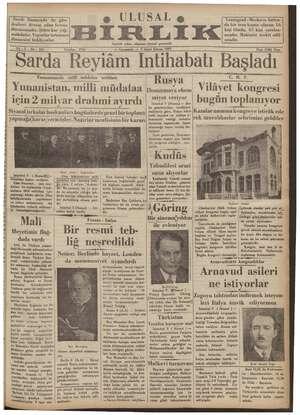 Ulusal Birlik (İzmir) Gazetesi 9 Ocak 1935 kapağı