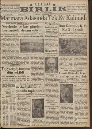 Ulusal Birlik (İzmir) Gazetesi 12 Ocak 1935 kapağı