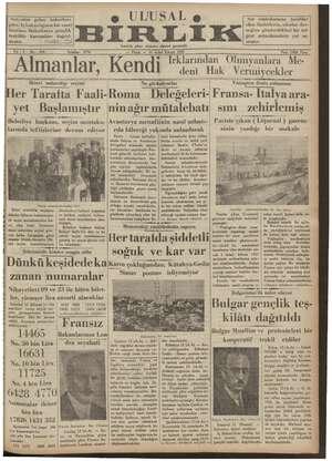 Ulusal Birlik (İzmir) Gazetesi 13 Ocak 1935 kapağı
