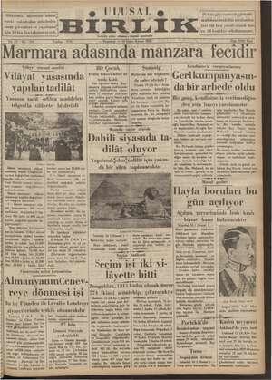 Ulusal Birlik (İzmir) Gazetesi 14 Ocak 1935 kapağı