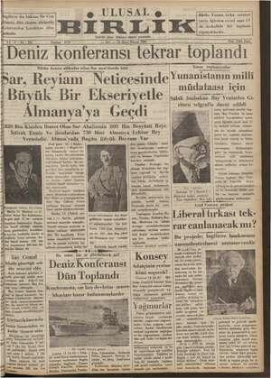 Ulusal Birlik (İzmir) Gazetesi 15 Ocak 1935 kapağı