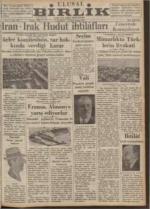 Ulusal Birlik (İzmir) Gazetesi 16 Ocak 1935 kapağı