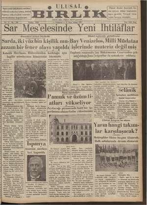 Ulusal Birlik (İzmir) Gazetesi 17 Ocak 1935 kapağı