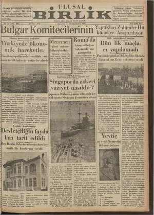 Ulusal Birlik (İzmir) Gazetesi 19 Ocak 1935 kapağı