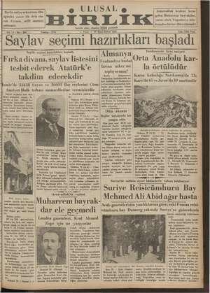 Ulusal Birlik (İzmir) Gazetesi 20 Ocak 1935 kapağı