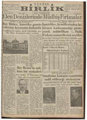 Ulusal Birlik (İzmir) Gazetesi 21 Ocak 1935 kapağı