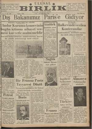 Ulusal Birlik (İzmir) Gazetesi 22 Ocak 1935 kapağı