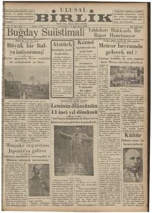Ulusal Birlik (İzmir) Gazetesi 23 Ocak 1935 kapağı
