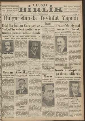 Ulusal Birlik (İzmir) Gazetesi 24 Ocak 1935 kapağı