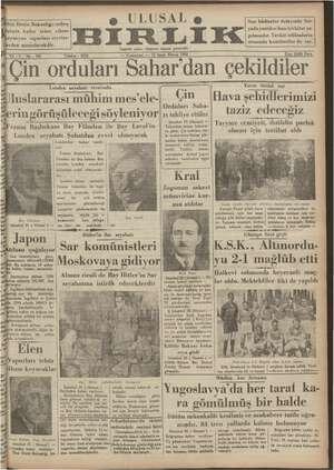 Ulusal Birlik (İzmir) Gazetesi 26 Ocak 1935 kapağı
