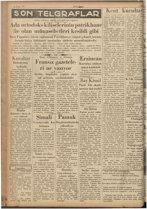 b pi Gila 14 Şubat 935 Ada ortodoks kiliselerinin patrikhane :; (Ulusal gğirlik) İtalya sefirinin bütün tekziplerine rağmen