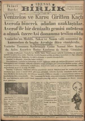 """e ULUSAL yg ie EK EK Venizelos'un adalarda tayin ettiği Valilerle kumardanlar  ! Ayvalığa iltica eylemişlerdir  """" İzmirde"""