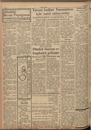 """. emele, iğ ği İSE Sahife 2 EA — Zabıta Romanı 4-9-935  Çeviren """"——Tefrika Numarası : 52 ee Yunan kızlarının, bundan elgraf"""