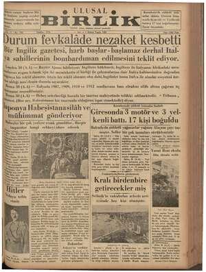 F I Mn e Alman cumur başkanı Hit- ö U L U 5 A I p» Karadeniz'de şiddetli İırir ler hudutta yaptığı seyahat gr nalar olmuş,