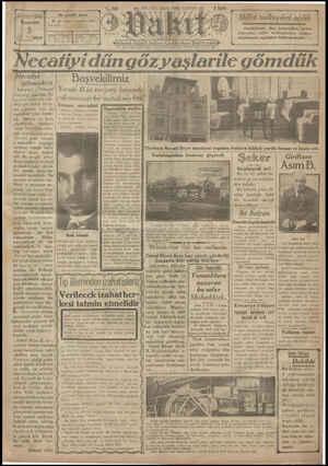 Vakit Gazetesi 3 Ocak 1929 kapağı