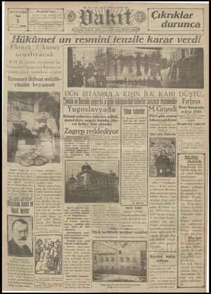 Vakit Gazetesi 8 Ocak 1929 kapağı