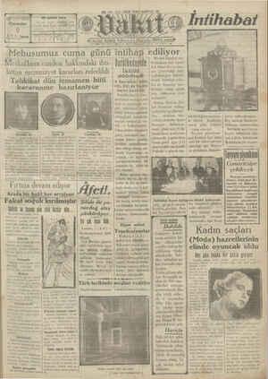 Vakit Gazetesi 9 Ocak 1929 kapağı